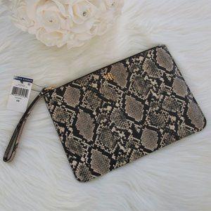 NWT Ralph Lauren Leather Snakeskin Wristlet Bag